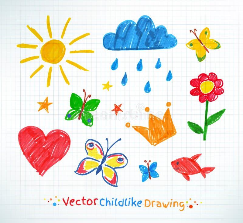 Чертеж ребенка ручки войлока лета бесплатная иллюстрация
