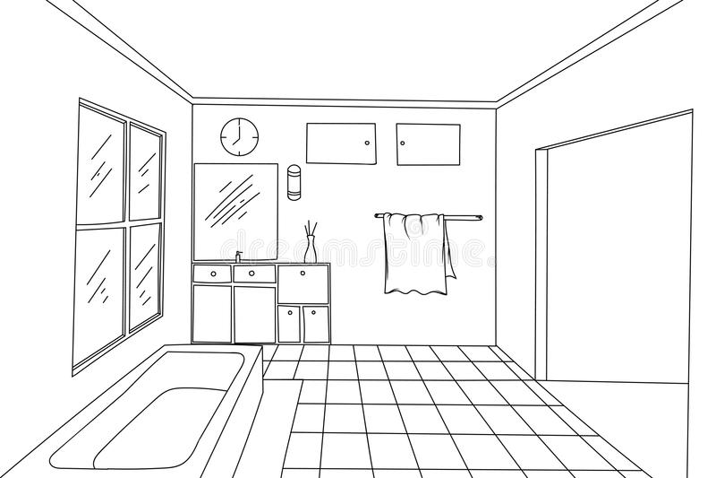 Чертеж руки ванной комнаты внутренний на белизне иллюстрация вектора