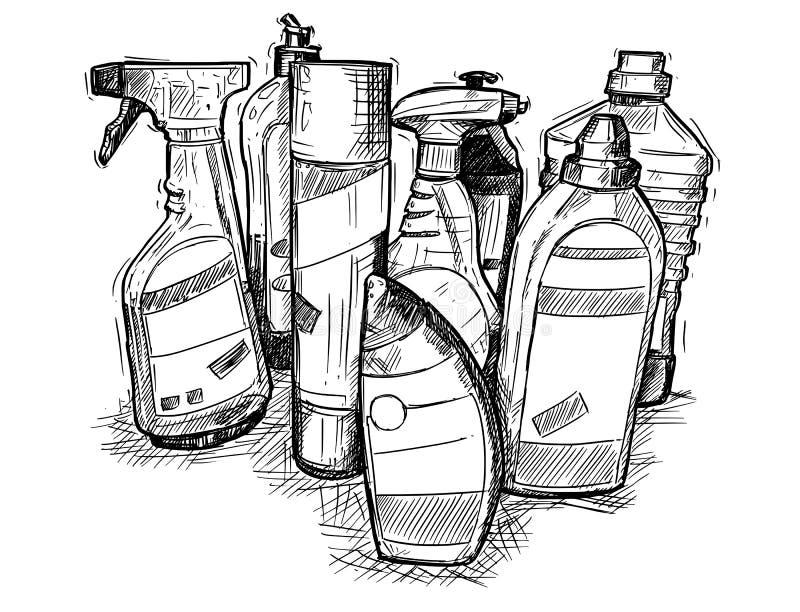 Чертеж руки вектора комплекта чистящих средств дома иллюстрация штока