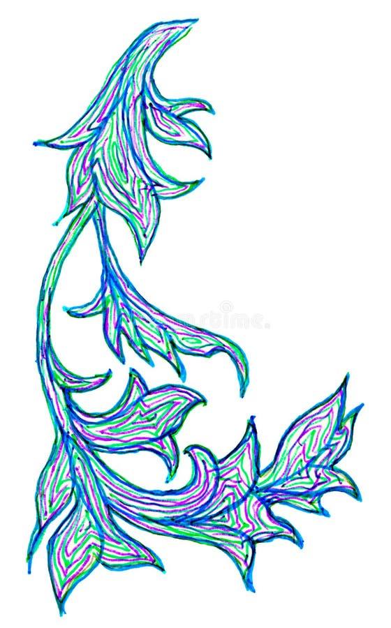 Чертеж руки изогнутых красочных лист бесплатная иллюстрация