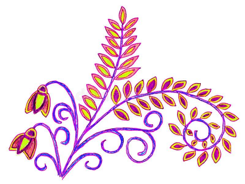 Чертеж руки листьев и цветков иллюстрация штока