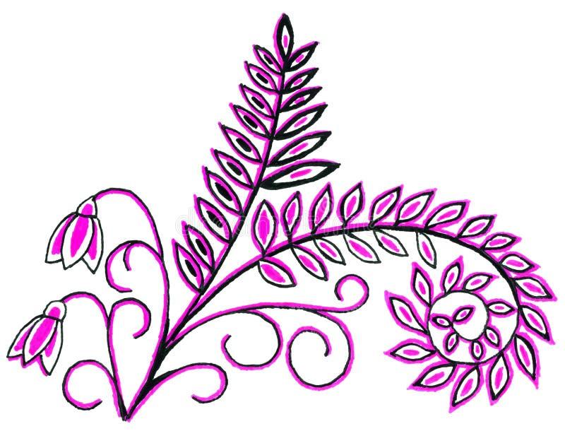 Чертеж руки листьев и цветков бесплатная иллюстрация