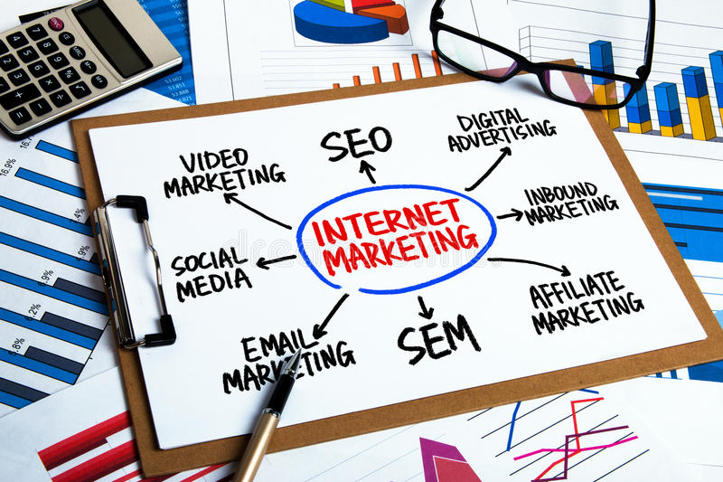 Чертеж руки схемы технологического процесса маркетинга интернета на доске сзажимом для бумаги стоковые изображения rf
