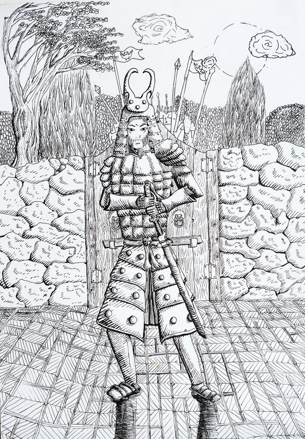Чертеж самураев с деревьями луны строба стены иллюстрация штока