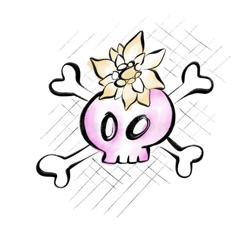 Чертеж сладостного маленького черепа с цветком стоковые фотографии rf