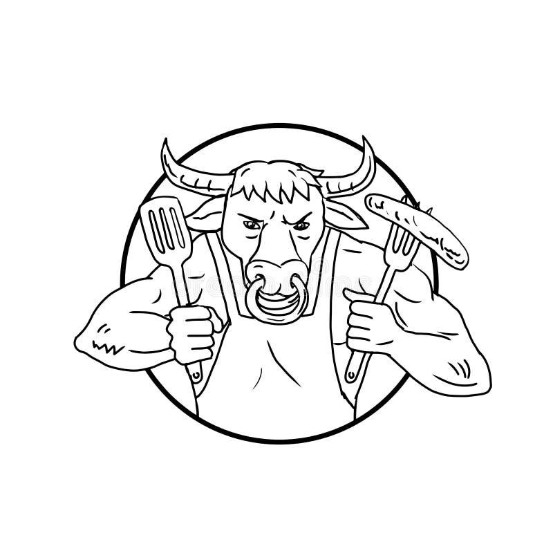 Чертеж сосиски барбекю удерживания Bull лонгхорна черно-белый бесплатная иллюстрация