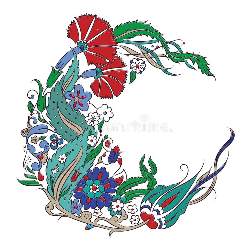 Чертеж стиля Iznik флористический иллюстрация вектора