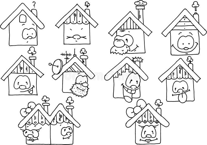 Чертеж счастливых домов черно-белый стоковые фотографии rf