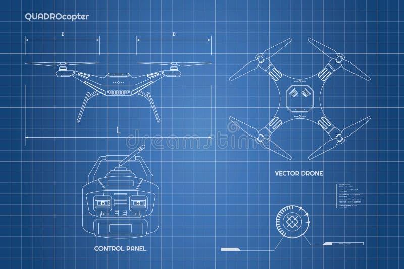 Чертеж трутня Промышленная светокопия пульт управления quadrocopter Фронт, взгляд сверху иллюстрация вектора