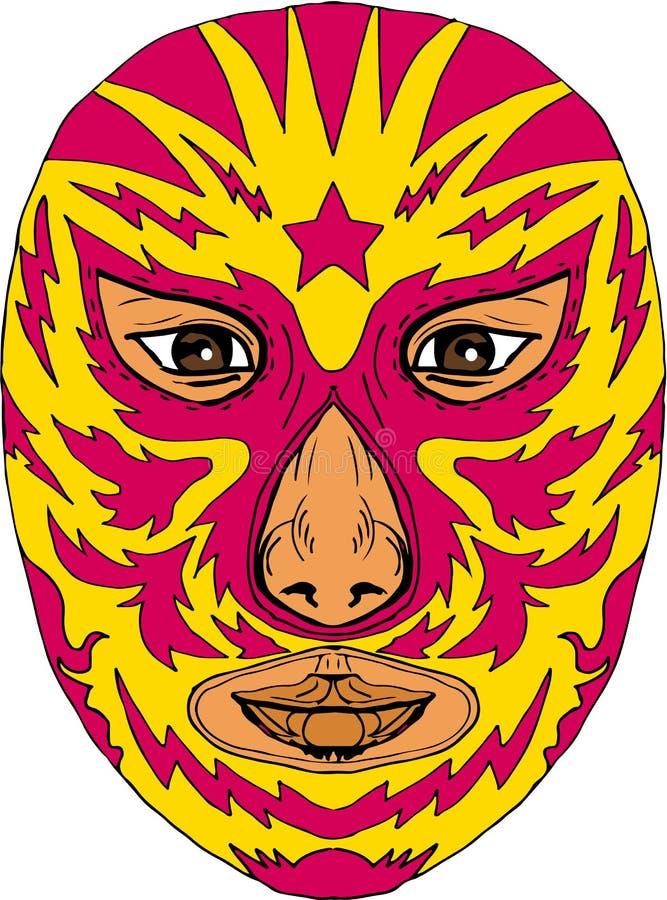 Чертеж удара молнии звезды маски Luchador иллюстрация штока