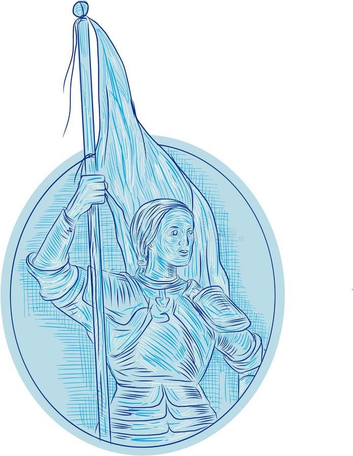 Чертеж флага удерживания Жанны д'Арк овальный иллюстрация штока