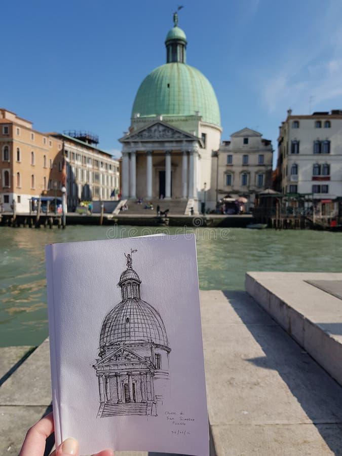 Чертеж художника в Венеции стоковое фото