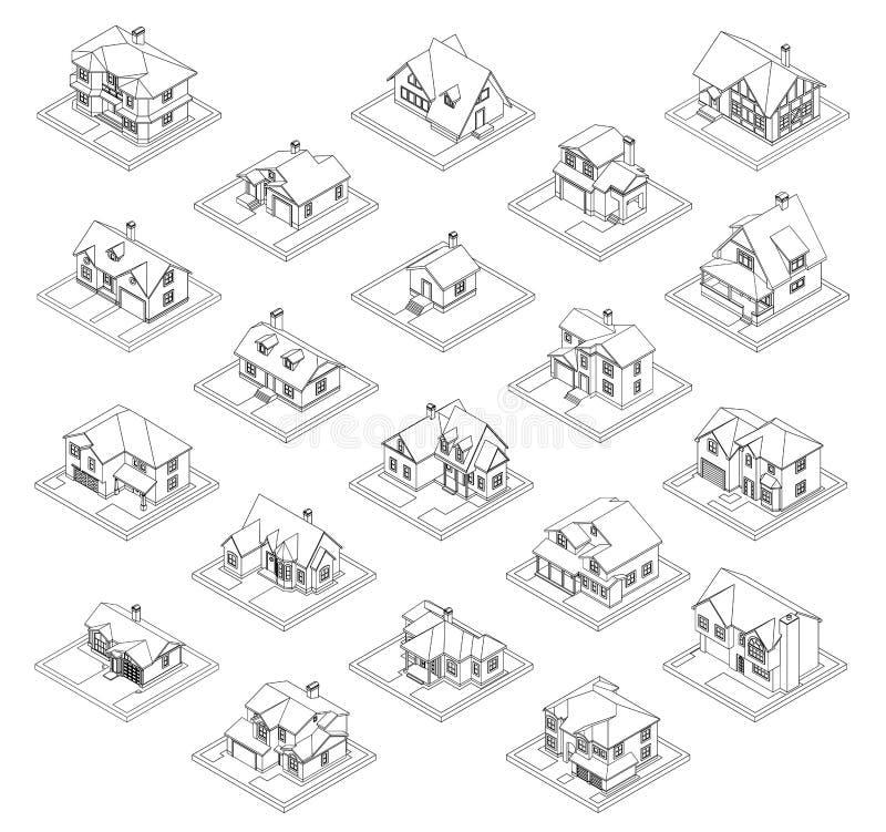 Чертеж частного комплекта дома иллюстрация вектора