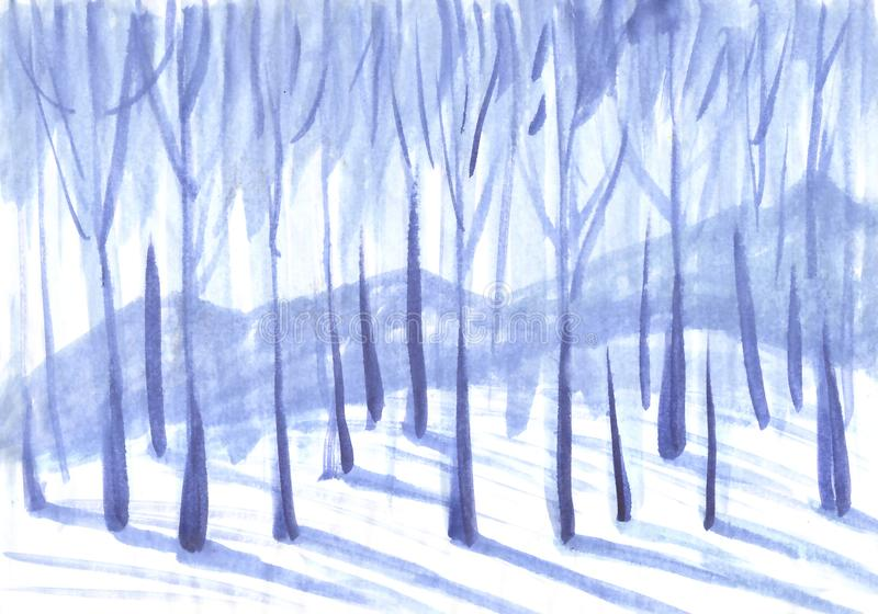 Предпосылка зимы Деревья в снежном лесе бесплатная иллюстрация