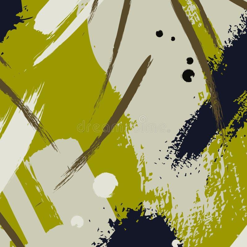 Чертеж чернил вектора Хаотическое хаки украшение цвета Чертеж от руки Brushstroke Искусство свежей ткани популярное бесплатная иллюстрация