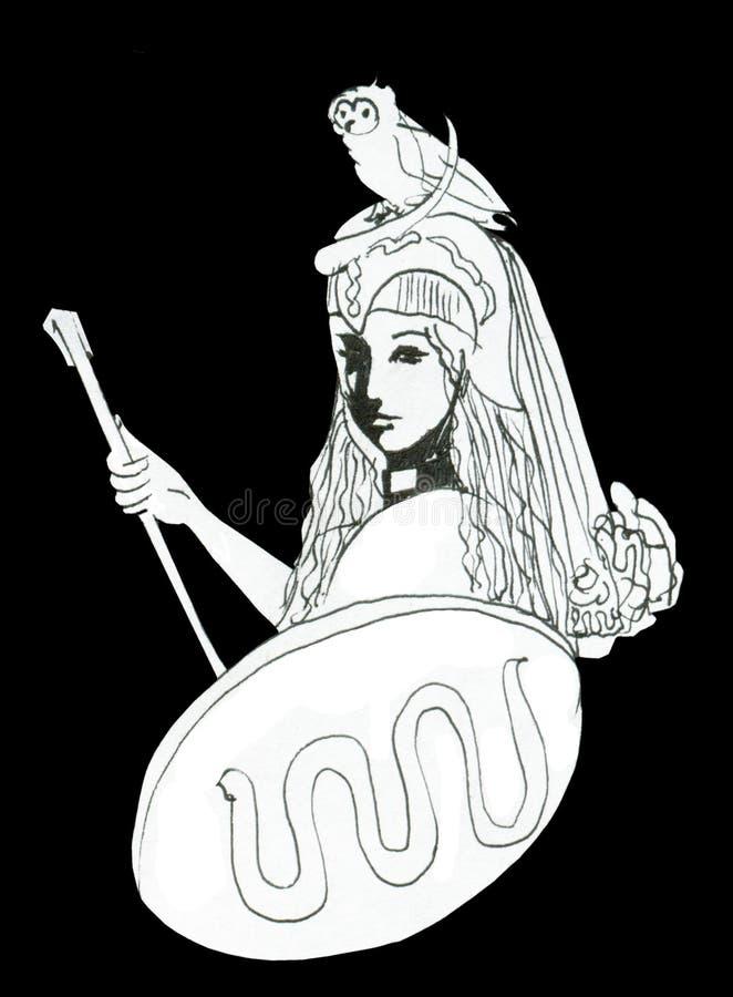 Чертеж чернил Pallas Афины с атрибутами бесплатная иллюстрация