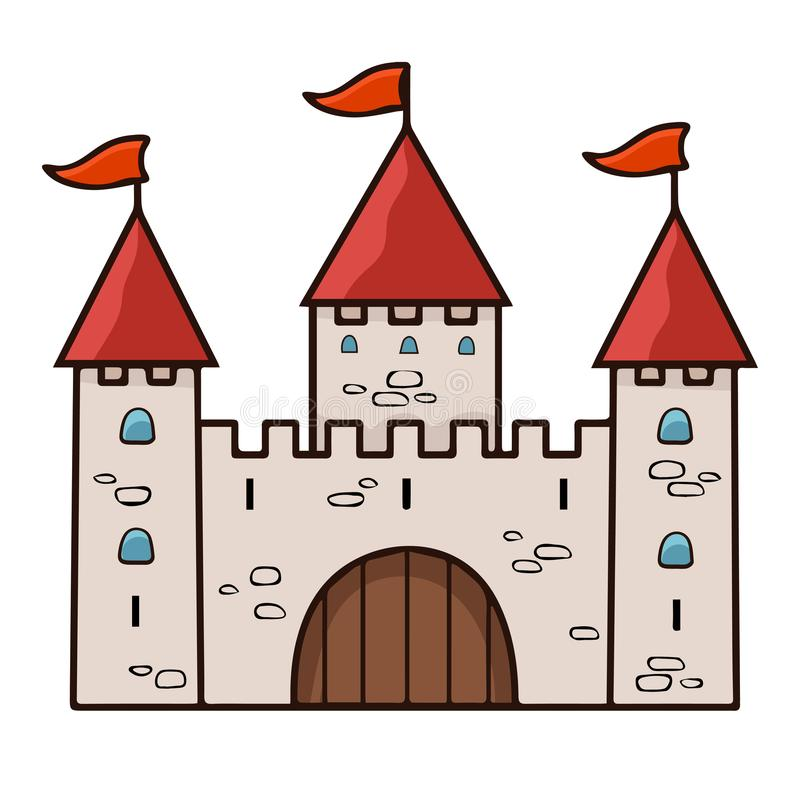 Чертеж шаржа замка, иллюстрация вектора Каменный бежевый нарисованный дворец с 3 башнями с стробами, красными куполами и флагами  иллюстрация вектора