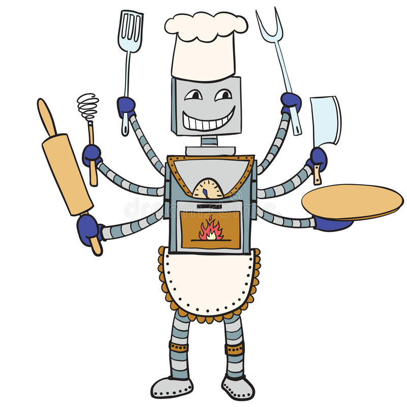 Чертеж шеф-повара робота Шарж вектора иллюстрация штока