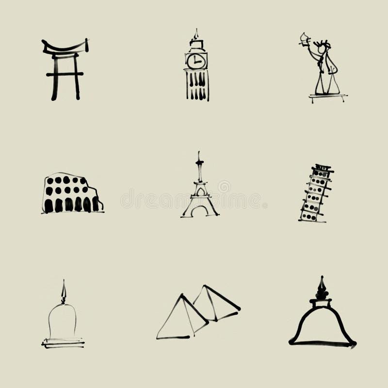 Чертеж щетки привлекательности по всему миру китайский иллюстрация вектора