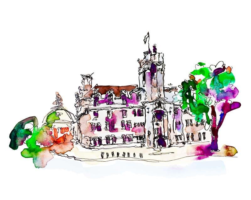 Чертеж эскиза акварели взгляда ландшафта улицы Лондона, trave иллюстрация вектора