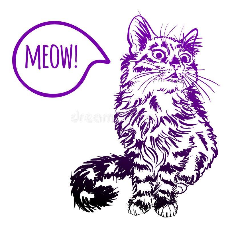 Чертеж эскиза кота на коричневой предпосылке иллюстрация вектора