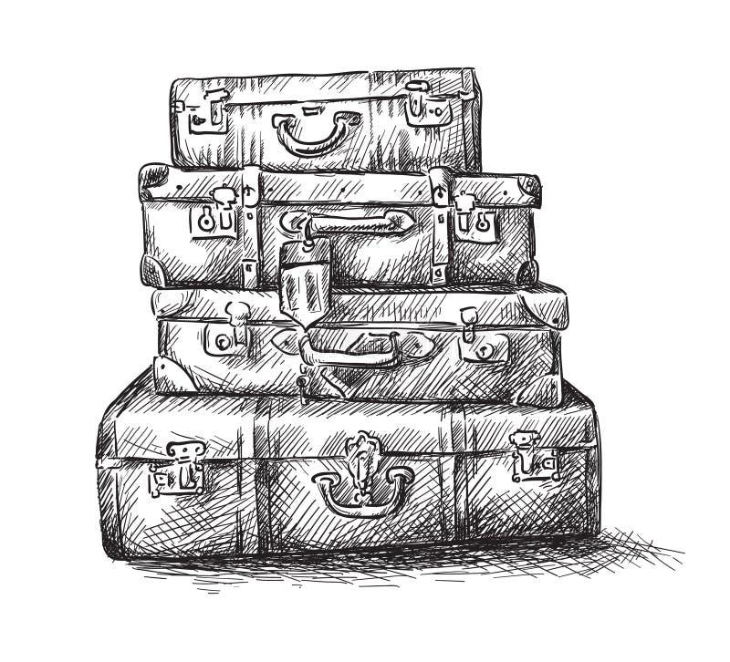 Чертеж эскиза мешков багажа бесплатная иллюстрация