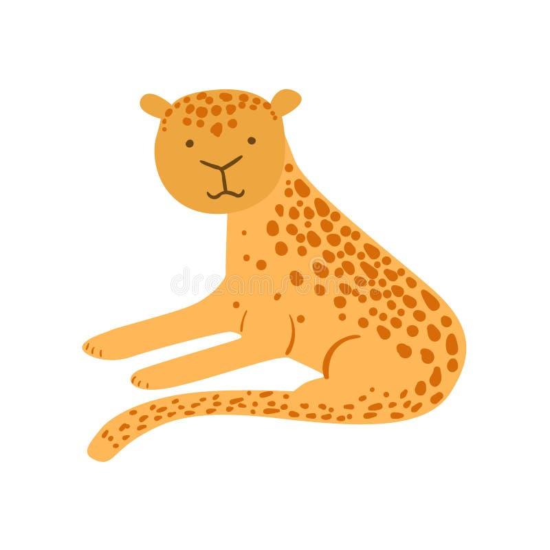 Чертеж ягуара стилизованный ребяческий иллюстрация вектора