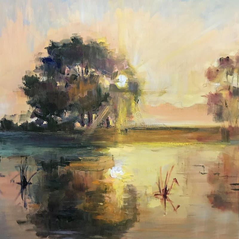Чертеж яркого восхода солнца захода солнца над морем иллюстрация штока
