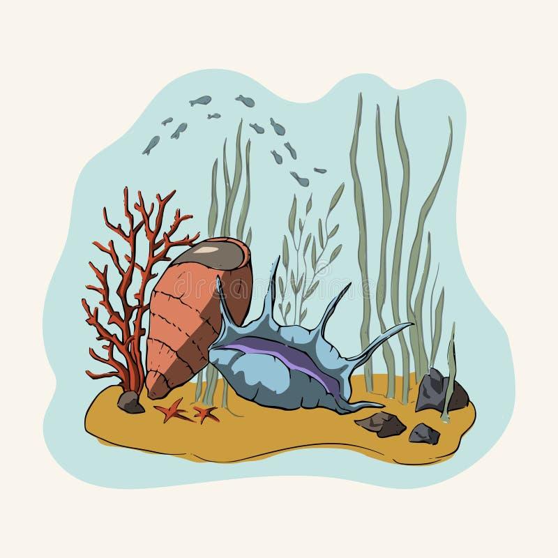 чертеж 3d Коралловый риф иллюстрация штока