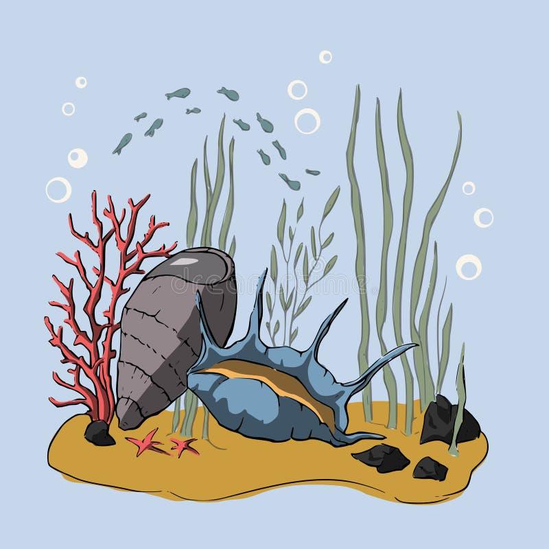 чертеж 3d Коралловый риф иллюстрация вектора