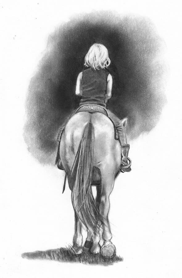 чертеж horseback рисует riding иллюстрация вектора