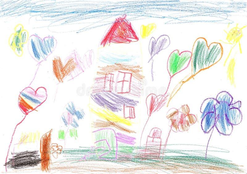 Чертеж ` s ребенка дома семьи вычерченная рука иллюстрация штока