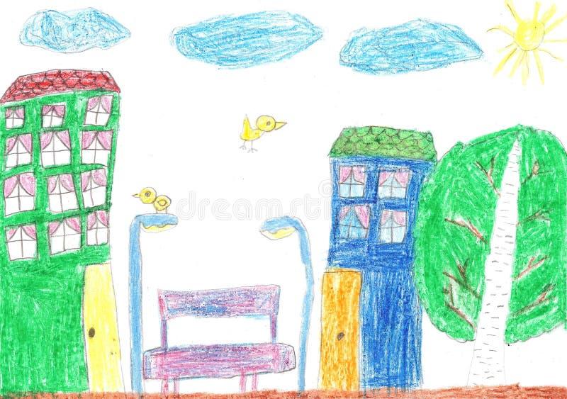 чертеж s ребенка Дом, деревья и стенд иллюстрация штока