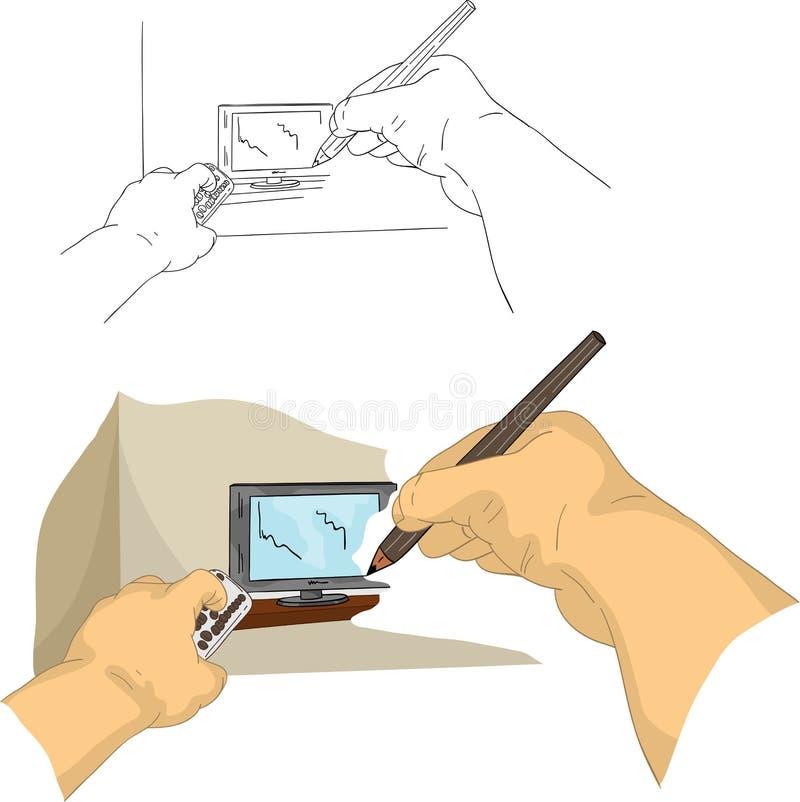 чертеж Tv Стоковое Изображение