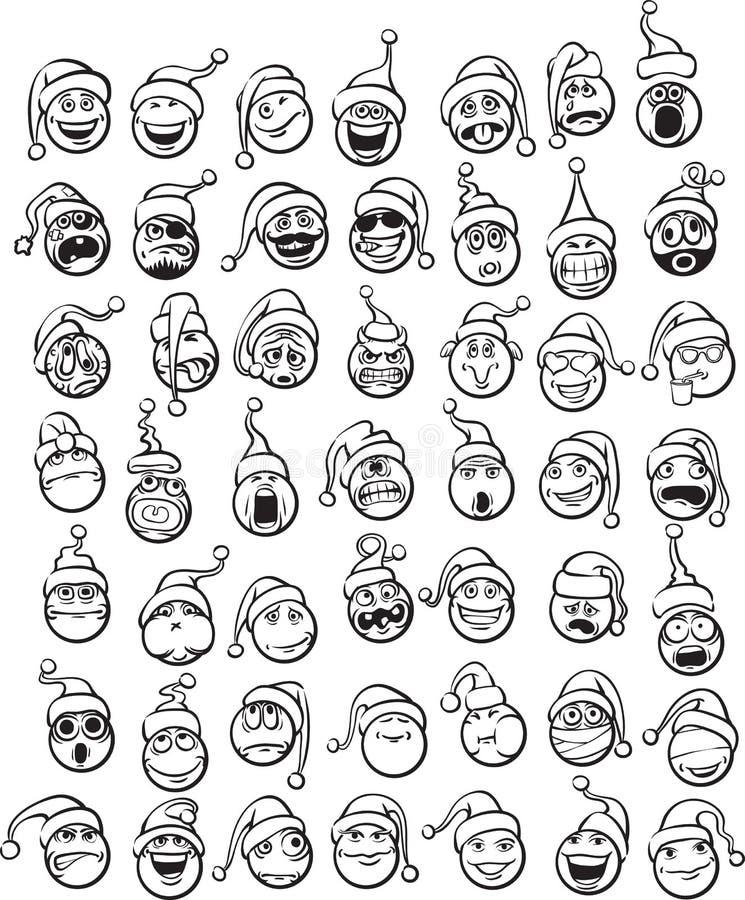 Чертеж Whiteboard - большой комплект smilies в шляпе Санты иллюстрация штока