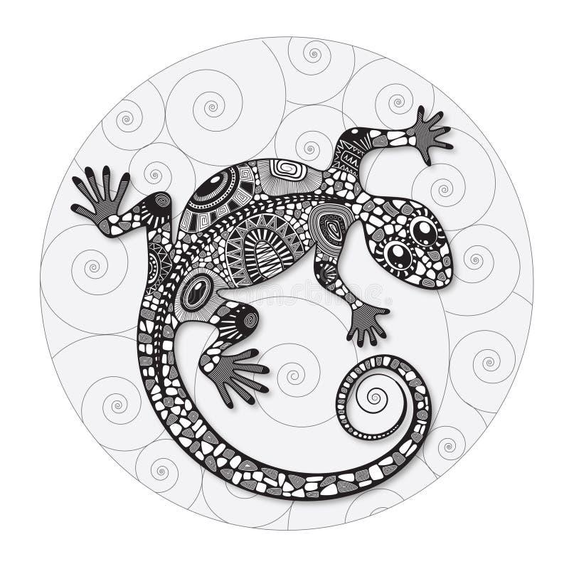 Чертеж Zentangle стилизованный ящерицы иллюстрация вектора