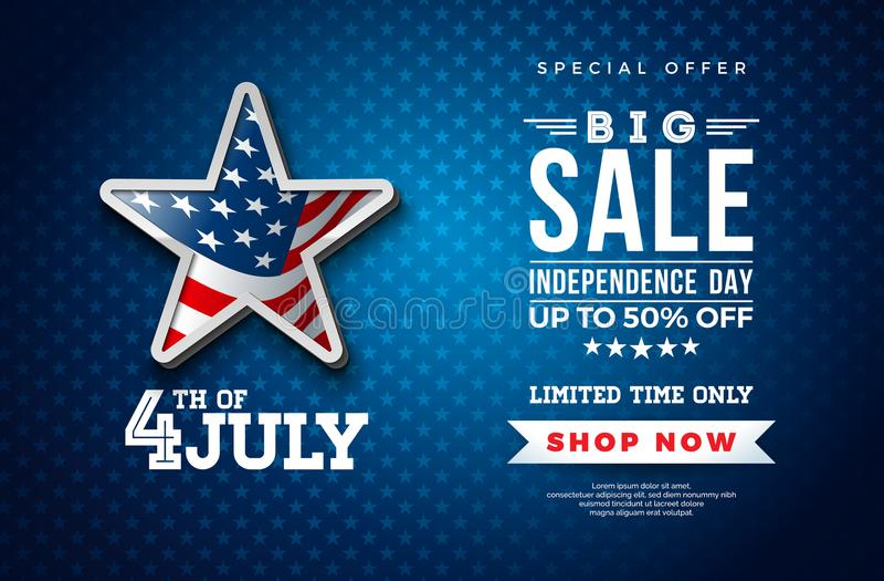 четвертое -го июль Дизайн знамени продажи Дня независимости с флагом в звезде 3d на темной предпосылке Вектор национального празд бесплатная иллюстрация