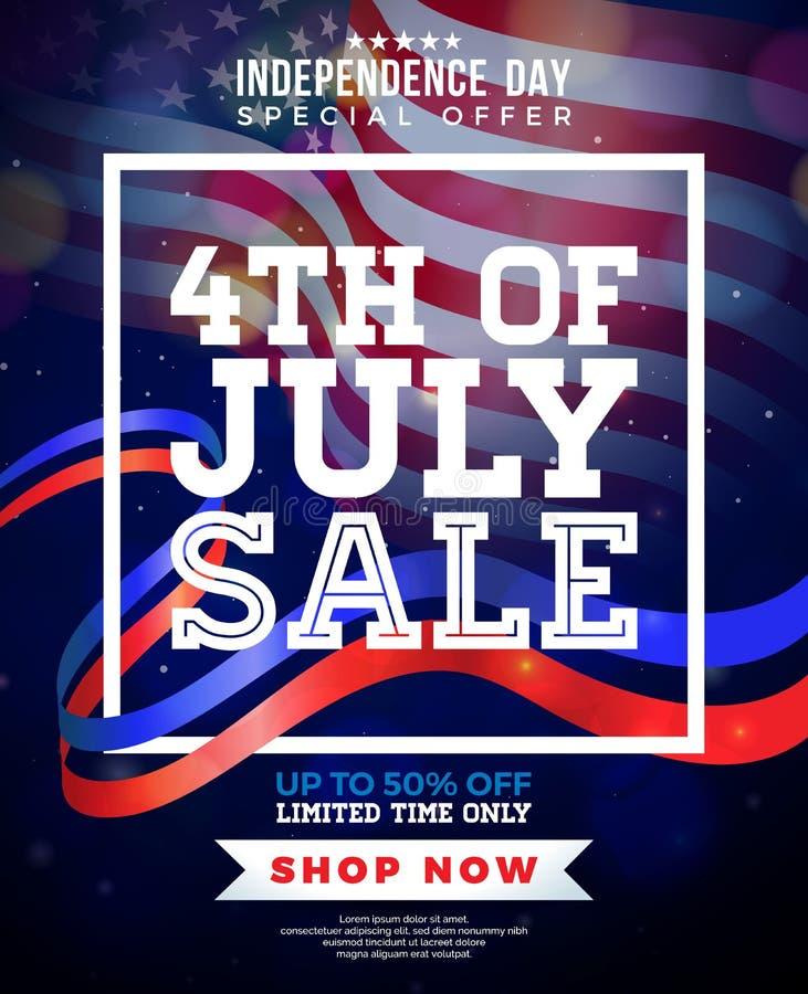 четвертое -го июль Дизайн знамени продажи Дня независимости с флагом на темной предпосылке Вектор национального праздника США иллюстрация штока