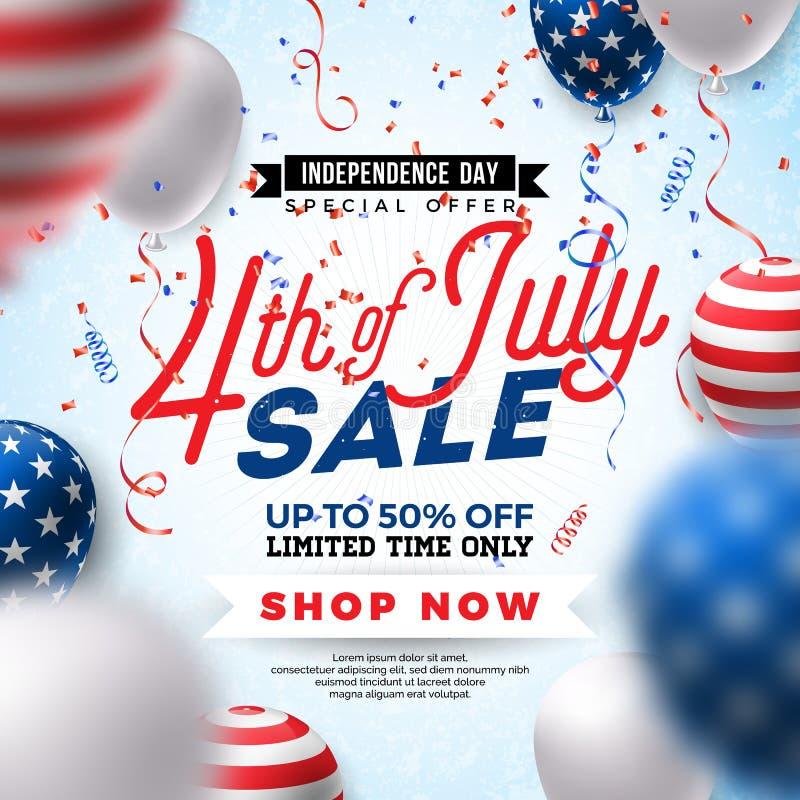 четвертое -го июль Дизайн знамени продажи Дня независимости с воздушным шаром на предпосылке Confetti Вектор национального праздн иллюстрация вектора