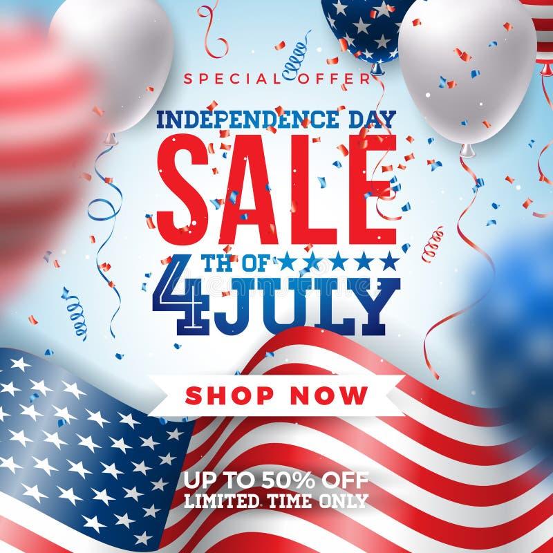 четвертое -го июль Дизайн знамени продажи Дня независимости с воздушным шаром и флагом на предпосылке Confetti Национальный празд иллюстрация вектора