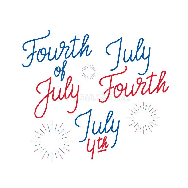 четвертое -го июль Комплект ` s логотипа литерности для 4-ое -го июль, День независимости США иллюстрация вектора