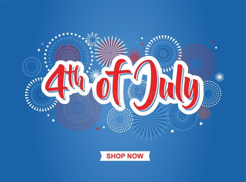 четвертое -го июль 4-ое из знамени праздника в июле Знамя Дня независимости США для продажи, скидка, реклама, сеть etc иллюстрация вектора