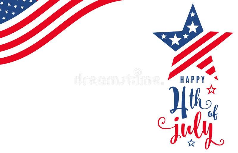 четвертое -го июль 4-ое из знамени праздника торжества в июле иллюстрация вектора