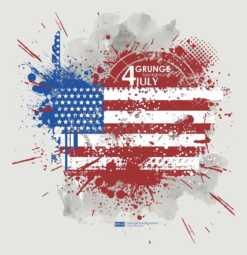 четвертое -го июль Вектор предпосылки Grunge Печать Grunge для футболки Абстрактная текстура предпосылок грязи Знамя Grunge с бесплатная иллюстрация