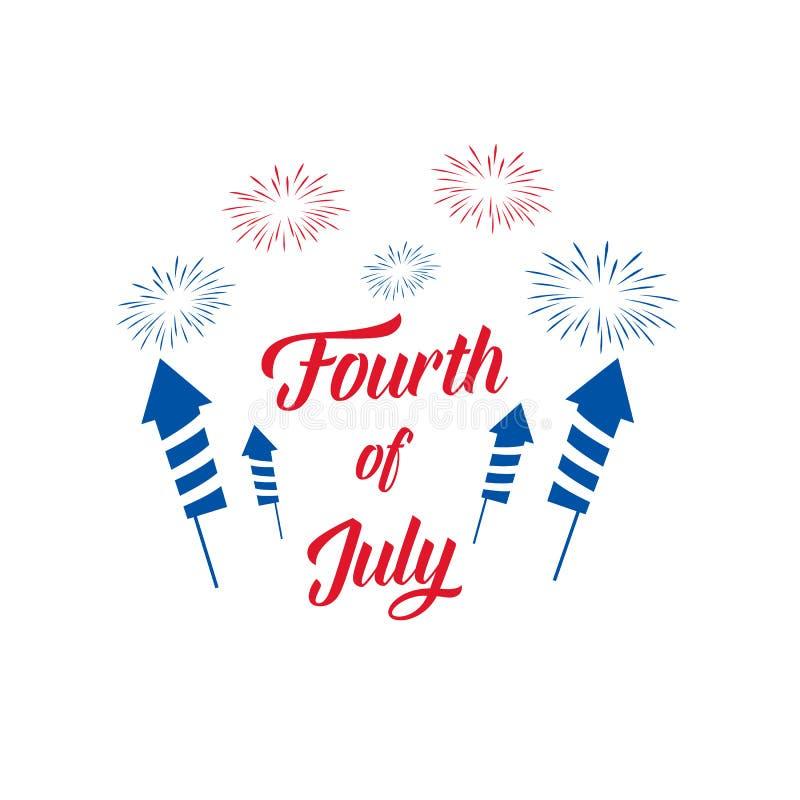 четвертое -го июль Иллюстрация Дня независимости США с фейерверками и оформлением бесплатная иллюстрация