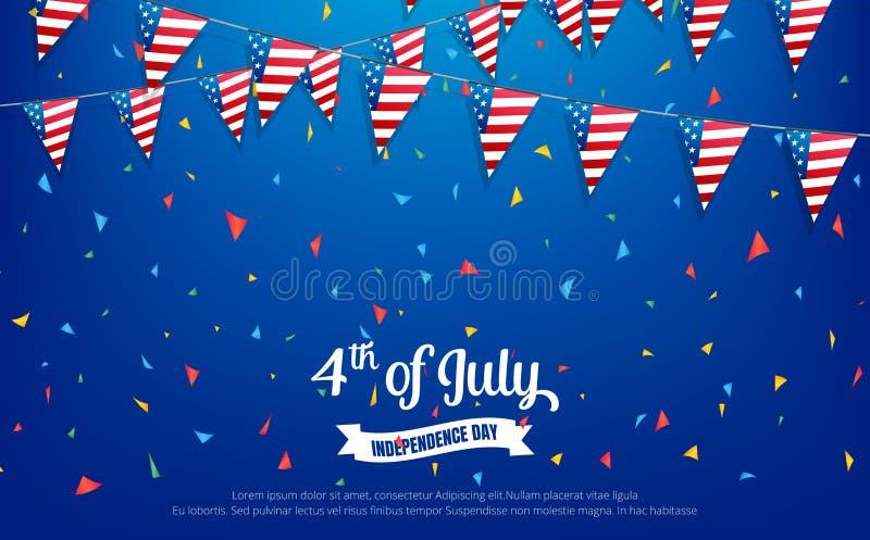четвертое -го июль 4-ое из знамени праздника в июле Знамя Дня независимости США для продажи, скидка, реклама, сеть etc иллюстрация штока