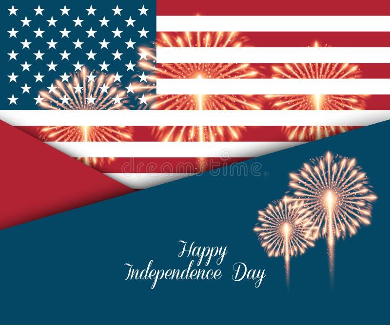 четвертое -го июль Поздравительная открытка Дня независимости иллюстрация штока