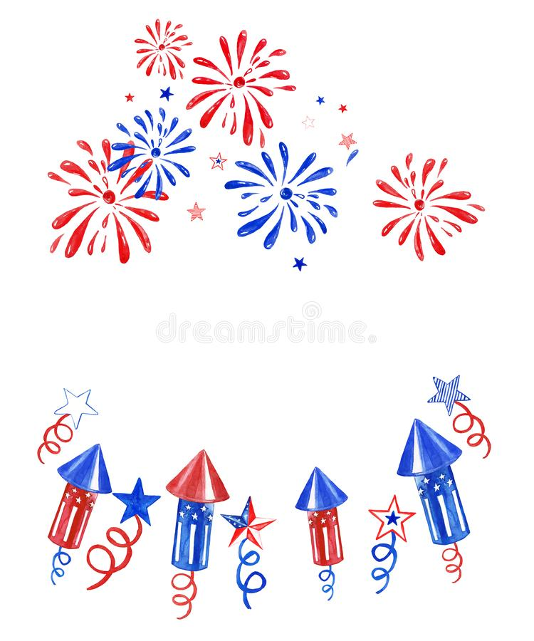 Четвертом -го знамя в июле с фейерверками и салютами на белой предпосылке Праздничная иллюстрация Дня независимости, белый, красн иллюстрация вектора
