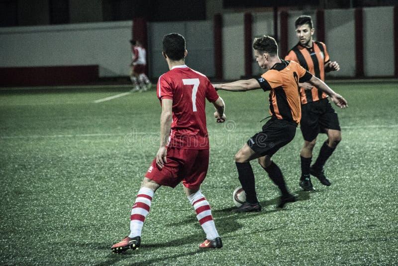 Четвертьфиналы чашки утеса Гибралтара - футбол - Манчестер 62 0 стоковая фотография