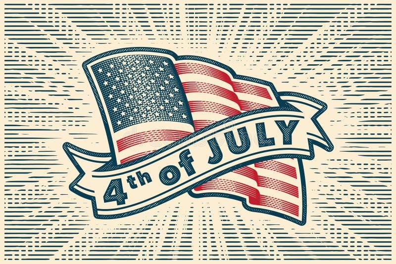Четверть от иллюстрации -го июля - со светить американскому флагу и ленте иллюстрация вектора